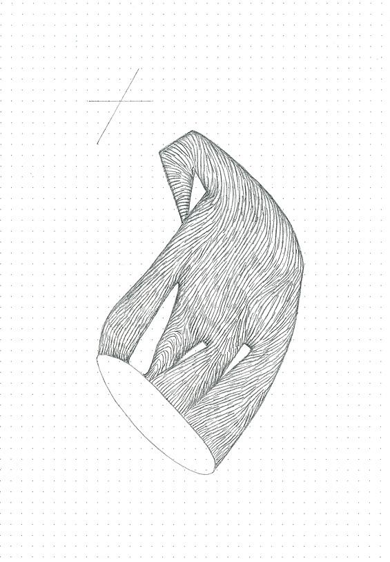 Étude spontanée#5_crayon graphite sur papier pointillé_5cm X 21cm_2015