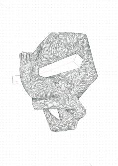 Étude spontanée#2_crayon graphite sur papier pointillé_5cm X 21cm_2015