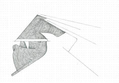 Étude spontanée#9_crayon graphite sur papier pointillé_5cm X 21cm_2015