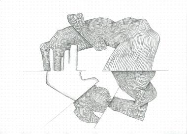 Étude spontanée#8_crayon graphite sur papier pointillé_5cm X 21cm_2015