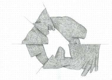 Étude spontanée#7_crayon graphite sur papier pointillé_5cm X 21cm_2015