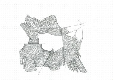 Étude spontanée#6_crayon graphite sur papier pointillé_5cm X 21cm_2015