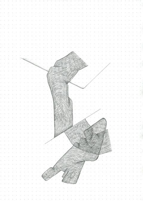 Étude spontanée#11_crayon graphite sur papier pointillé_5cm X 21cm_2015